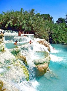 ITALY – Cascate del Mulino of the Terme di Saturnia, Grosseto province, Tuscany. These thermal springs are located on Via della Follonata, off of Route SP10, 1.8 kilometres (1.1 miles) south of the town of Saturnia. https://www.google.ca/maps/place/Cascate+del+Mulino/@42.6481677,11.4956066,14z/data=!4m5!3m4!1s0x13290366b31c96c3:0x2ffca3ed7d65295f!8m2!3d42.6481663!4d11.5127955