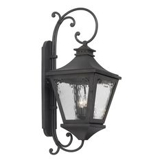 Manor Outdoor Wall Lantern In Charcoal And Water Glass by Elk Lighting Group