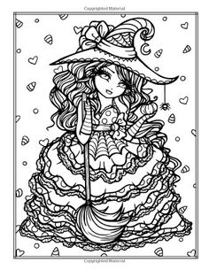 Enchanted Halloween: A Whimsy Girls Fantasy Coloring Book Blank Coloring Pages, Colouring Pics, Coloring Sheets, Coloring Books, Free Adult Coloring, Coloring For Kids, Halloween Coloring Pages, Anime Art Girl, Digital Stamps