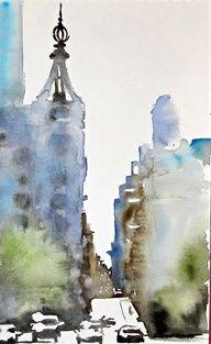 watercolor city landscape