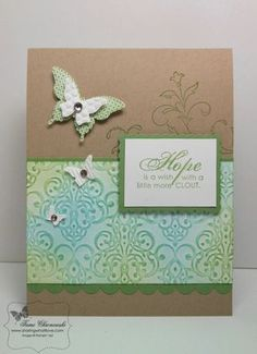 Sponged Embossing - sponge Baja Breeze & Wild Wasabi onto paper after embossed - raised portions collect more ink