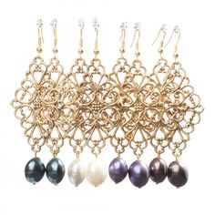 Luxe Earrings - Diamond Shaped Filigree with Pearl Drop - Assorted Colors - Luxe Group - Jewelry