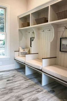 artisan home tour cottage-inspired mudroom with gray walls, shiplap, cubbies, and rustic gray flooring 8 Fun and Functional Mudroom Ideas for a Super-Organized Your Home Storage Entryway Diy Home Decor Rustic, Entryway Decor, Entryway Ideas, Gray Home Decor, Sas Entree, Mudroom Laundry Room, Mudrooms With Laundry, Mud Room Lockers, Closet Mudroom