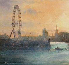 'Evening, River Thames, London' by Robert Brindley. Watercolour on Saunders Waterford paper. http://www.robertbrindley.com/