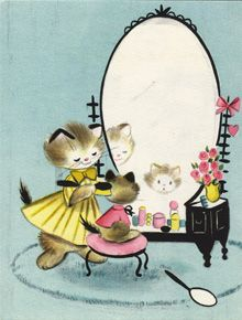 Illustration- vintage cats by Vivian Trillow Smith from 1954 Hallmark birthday card