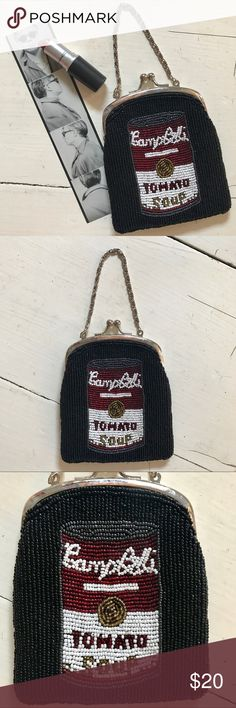 ff73fe9b52e3e Andy Warhol Beaded Soup Can Purse Small Bag Art chic! Beaded satin bag  inspired by Andy Warhol's tomato soup can. x with a chain strap.