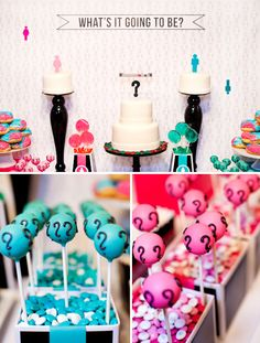 I would love to make blue and pink covered cake balls with the cake colored for the gender. Then ask the attendees to pick what they think you are having based on the icing color. All bite in at once and see who got it right!