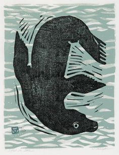 Seal in Sea - Linocut by Holly Meade 2006