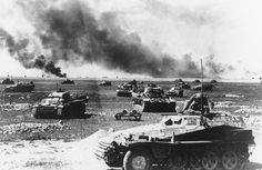 German armored vehicles during the Battle of Kursk, Soviet Union, July 1943.