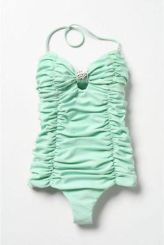 minty ruched perfection in a bathing suit.