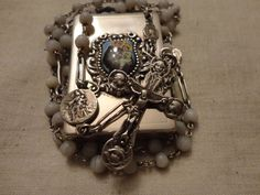 ANTIQUE STERLING SILVER ROSARY Saint Anthony Jesus Solid Silver Box Vintage