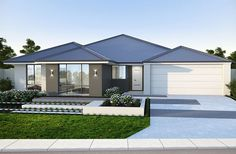 Classic frontage with contrast render and… - House Designs Exterior Modern Bungalow House, Modern House Design, Australia House, Modern Contemporary Homes, Modern Ranch, House Paint Exterior, Facade Design, New Home Designs, Facade House