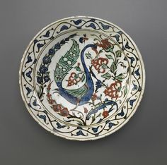 Plate, Iznik, Turkey, late century Ottoman period Stone-paste painted under colorless glaze Freer and the Sackler (Smithsonian) Museums. Glazes For Pottery, Ceramic Pottery, Pottery Art, Turkish Art, Turkish Tiles, China Painting, Traditional Paintings, Orient, Pottery Designs
