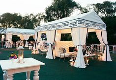 glamorous reception tent with black and white details