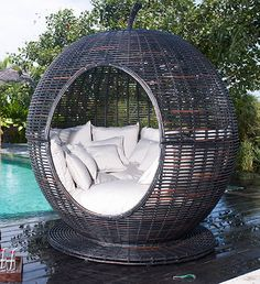 Hurry up and give me one of these! Oh and the garden as well ... please?! Iglu Apple - Outdoor Wicker Daybed by Skyline #lounge #outdoor #chill