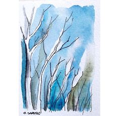 Winter woods-  ACEO watercolor and ink painting. €10.00, via Etsy.