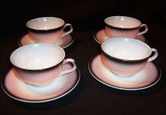 Hazel Atlas Ovide Pink Black Cup & Saucer Sets