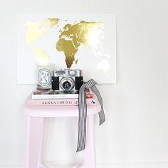 Wanderlust Print- Large – Miss Poppy Design Poppy Shop, Foil Art, Gold Foil Print, Blue Rooms, Poppies, Print Patterns, A3, Creative, Prints