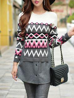 Jacquard Paneled Wool Blend Sweater