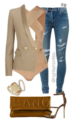 """Bronze Medalist"" by highfashionfiles ❤ liked on Polyvore featuring Yves Saint Laurent, Giuseppe Zanotti, Balmain and Miss Selfridge"