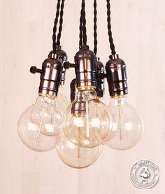 Edison bulb hanglamp E27 fittingen + 6 kooldraadlampen