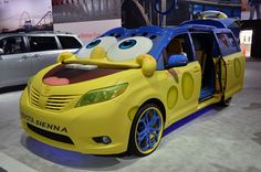 """Official: 2015 Toyota Sienna SpongeBob Movie-Themed at the Los Angeles Auto Show 2014.  The van will go on a promotional tour for """"The SpongeBob Movie: Sponge Out of Water.""""  readmore: http://www.carxmotor.com/2014/11/21/2015-toyota-sienna-spongebob-movie-los-angeles-auto-show-2014/"""