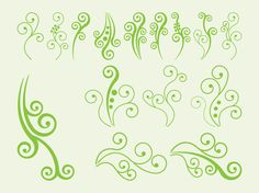 Vector image set with abstract nature graphics. Bright colored silhouette shapes of swirling plants, stems and vines. Many different designs decorated with dots and spirals. Free vector graphics for nature, spring, summer, plants, flowers, floral, ecology, botanic and preservation of nature designs. Swirling Plants by Vinca.deviantart.com