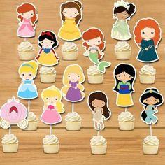 princess cake topper  Princess birthday party ideas, first birthday, 1st birthday party, girl party ideas, Disney princess