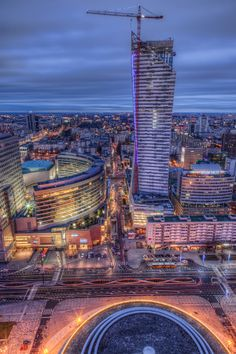 Photo taken during blue hour in Warsaw Poland from the Palace of Culture and Science - highest building in the city.