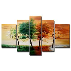 Beautiful Tree Canvas. Enhance your home with hand-painted,gallery-wrapped canvas art. Featuring five panels, this artwork, expertly created using oil paints, portrays an idyllic landscape in the Contemporary style. These pieces are perfect for large walls.