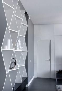 Másfél szobás lakás modern vonalakkal, kellemes színekkel, nappali és konyha összevonásával