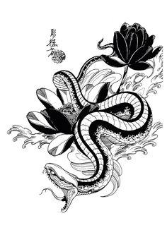 Snake and lotus