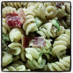 Creamy Bacon, Avocado Pasta  Ingredients:  1 box of Barilla rotini pasta  1/2 package of bacon  1/2 cup of mayo (I only use Best Foods)  1 large avocado pitted and cubed  2 Tbs dry Ranch dip mix (from the packet)  2 tsp dried dill  2 tsp Mrs. Dash Original Blend seasoning