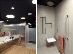 BANHEIRO PARA CADEIRANTES  O banheiro adaptado tem bancada mais baixa e espelho inclinado, ideal para o uso do cadeirante. Assim como á área do chuveiro e vaso, que tem barras de apoio cromadas.
