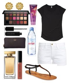 """Untitled #12522"" by ohnadine on Polyvore featuring Frame, Dolce&Gabbana, Marc Jacobs, Bobbi Brown Cosmetics, American Rag Cie, Evian, Kate Spade, Huda Beauty and Chanel"
