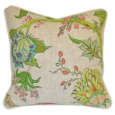 Cotton+and+linen-blend+pillow+with+an+organic+floral+vignette.++    Product:+PillowConstruction+Material:+Cotton+...