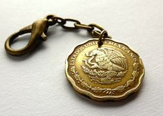 Mexican Coin charm Bird charm Women's accessory by CoinStories