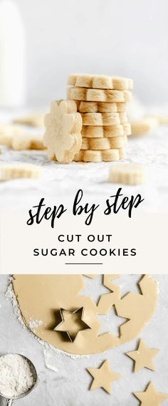 Get back to basics wtih these perfect cut out sugar cookies. Dense, and chewy, with a crispy edge and a gooey center, you won't be disappointed with this sugar cookie recipe! Roll Out Sugar Cookies, Homemade Sugar Cookies, Mini Cookies, Cut Out Cookies, Sugar Cookies Recipe, Cookie Recipes, Dessert Recipes, Kid Friendly Sugar Cookie Recipe, Shortbread
