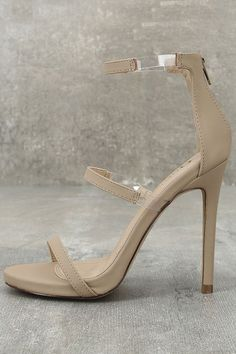 "The Making Magic Nude Nubuck High Heel Sandals create a sexy illusion that will have all your admirers mystified! Velvety vegan nubuck forms these single sole heels with lucite accents along the strappy peep-toe upper. 3"" heel zipper."