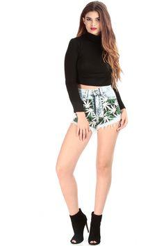 Canabiss Print High Waist Cut Off Shorts @ Cicihot Shorts,Women's Shorts,Short Shorts,Drawstring Shorts,Ladies Shorts,Summer Shorts,Petite Shorts,Shorts Clothing,Women's Denim Shorts