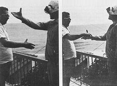 A) Hubert Dolezal tenta di stringere la mano indossando prismi  invertenti alto-basso; B) lo scopo è infine raggiunto assumendo una diversa  posizione della testa, che porta il braccio e la mano che afferrano all'interno  del campo visivo (tratto da Dolezal, 1982). © The Blackburn Press.