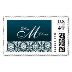 Teal Damask Wedding Monogram Stamp. This is customizable to put a personal touch on your mail. Add your photos or text to design your own stamp that can be sent through standard U.S. Mail. Just click the image to try it out!