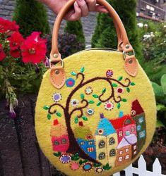 Embroidery Purse, Owl Purse, Art Bag, Felt Brooch, Designer Shoulder Bags, Casual Bags, Leather Handle, Wool Felt, Purses And Bags