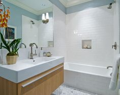 Contemporary Bathroom White Tile Bath Design, Pictures, Remodel, Decor and Ideas