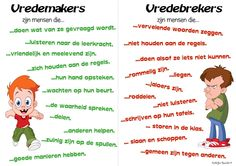 Wie zijn vredemakers en vredebrekers? Goeie poster om in de klas uit te hangen en met de kinderen te bespreken. Coaching, School Classroom, Art School, Teach Like A Champion, Teaching Social Skills, Teaching Ideas, School Info, Mindfulness For Kids, Leader In Me