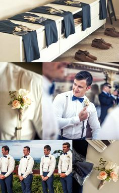 Grooms men Vintage Suites Navy/Brown/Peach button holes Bow tie and Suspender's  button holes by Alanah Cherie Floristry