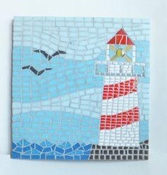 Lighthouse Mosaic Wall Art Nautical home decor by MollycatMosaics