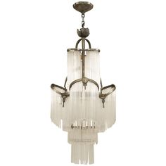 Art Deco Glass Fringe Chandelier. glass and chrome. Excellent condition. French. c1930s