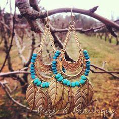 Leaf Earrings in Turquoise, $11.50