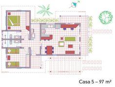 A planta baixa permite visualizar a divisão entre os dois quartos e a área social, agrupada em um bloco único.